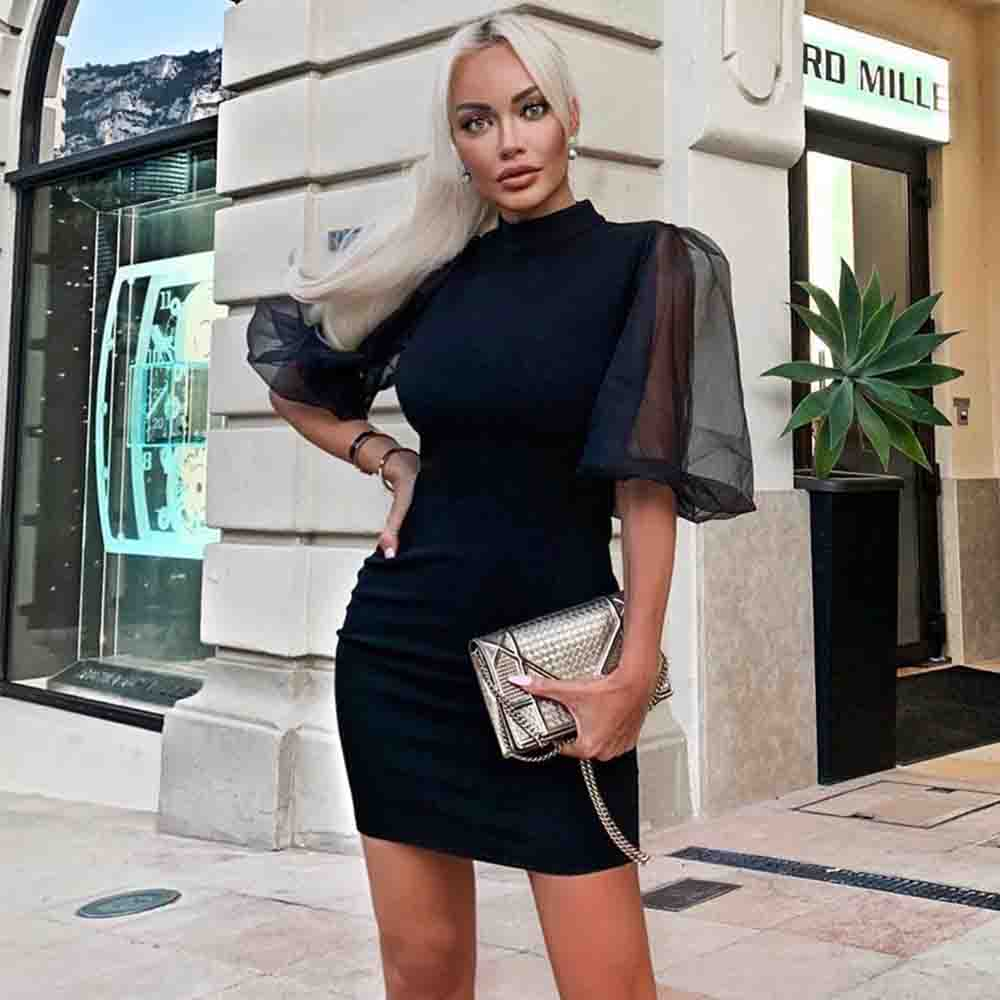 Sexy Mini Mesh Bandage Bodycon Celebrity Dress - The Star Fashions