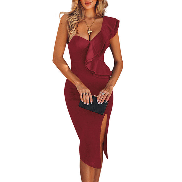 One Shoulder Elegant Ruffles Red Bandage Bodycon Sexy Dress - The Star Fashions