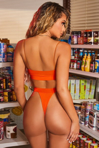 Orange Sexy Bikini Bandage Swimsuit 2 Piece Beachwear - The Star Fashions