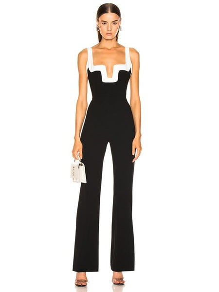 Classic Black and White Body-con Bandage Jumpsuit - The Star Fashions