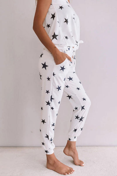 Two-Piece Summer Stars Print Trousers Pajamas Plus size Pajamas - The Star Fashions
