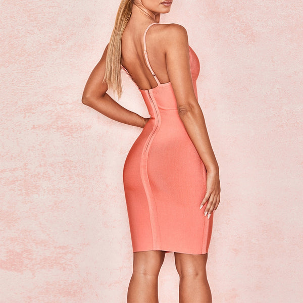 Peach Low Plunge Sexy Mini Party Club Dress - The Star Fashions
