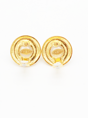 Chanel Vintage Gold Tone Metal &  Glass Pearl Round CC Clip On