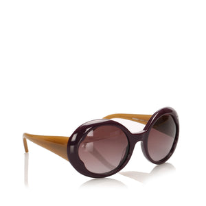 Chanel Round Tinted Sunglasses Purple/Camel