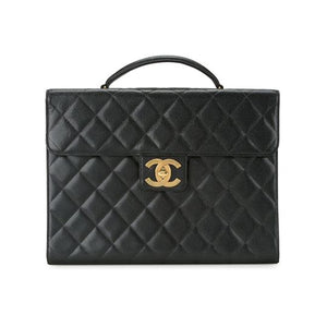 Chanel Vintage CC Caviar Leather Briefcase