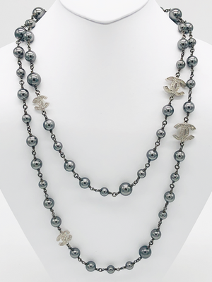 Chanel Ruthenium Grey Pearl/Crystal CC Long Necklace