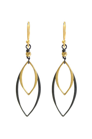 Alicia Van Fleteren Oxidized Silver and Gold Open Marquis Earrings