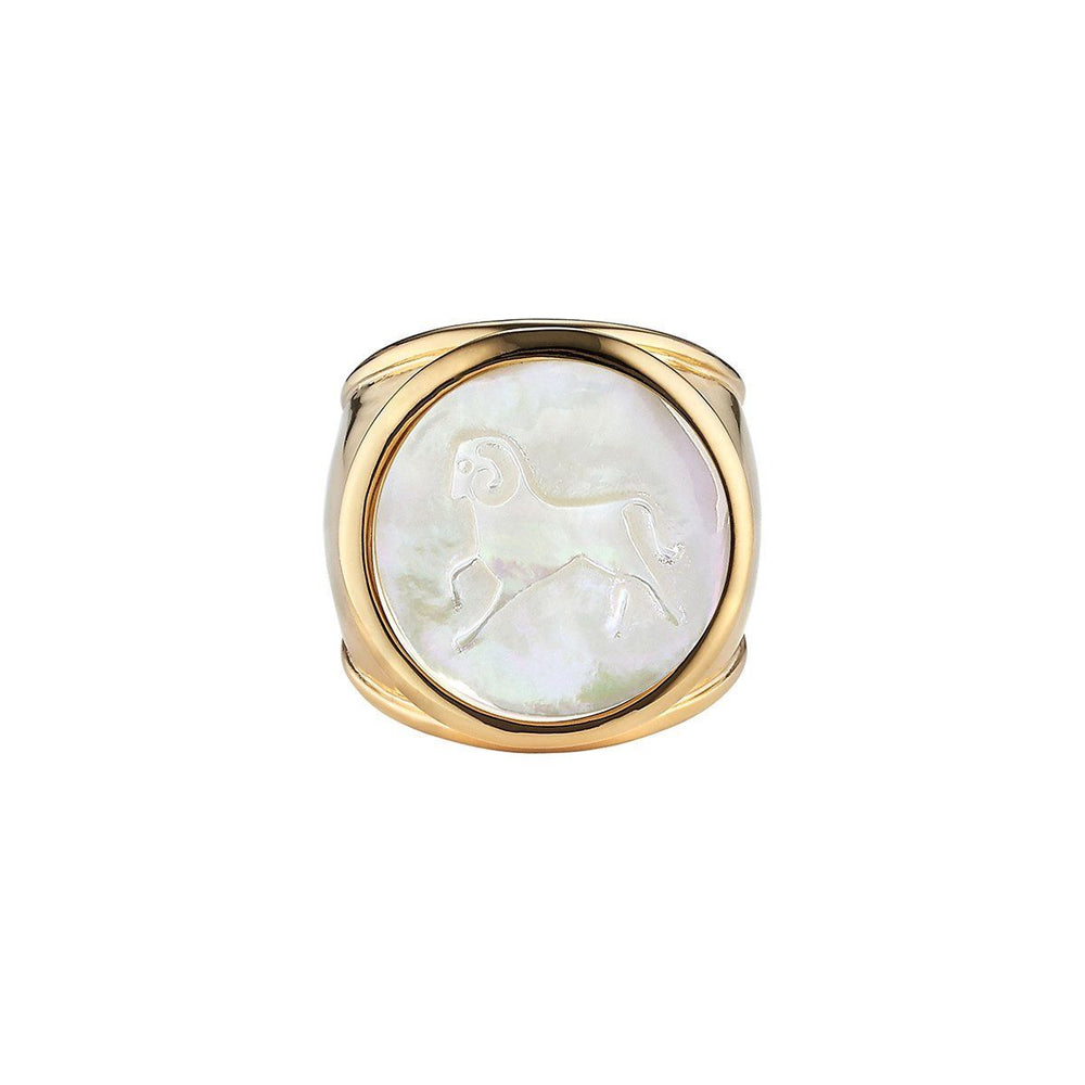 Load image into Gallery viewer, ASHA Aries Zodiac Ring 14k Vermeil / MOP