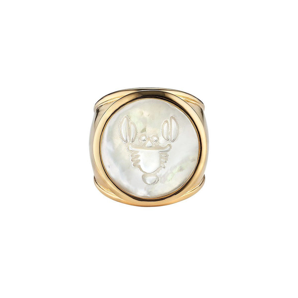 ASHA Cancer Zodiac Ring 14k Vermeil / MOP