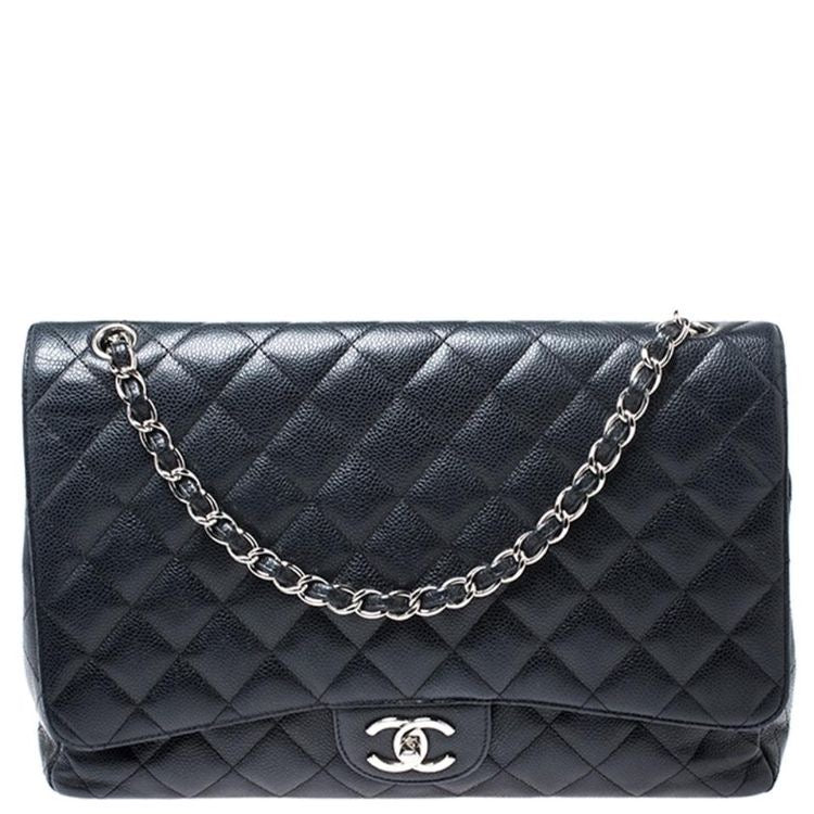 Chanel Classic Maxi Double Flap Bag Black Caviar Silver Hardware