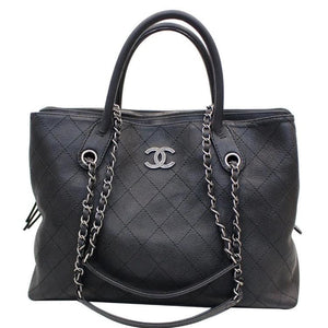 Load image into Gallery viewer, Chanel Grained Vegetal Black Calfskin Shopping Bag