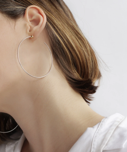 Load image into Gallery viewer, Jenny Bird Icon Hoops Medium Rhodium/Gold