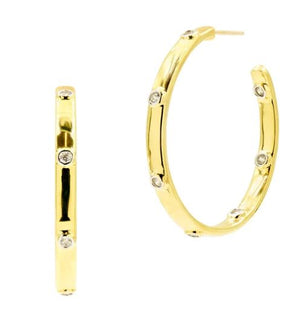 Freida Rothman Radiance Chunky C-Hoop Medium Earrings RNPYZE16-14K