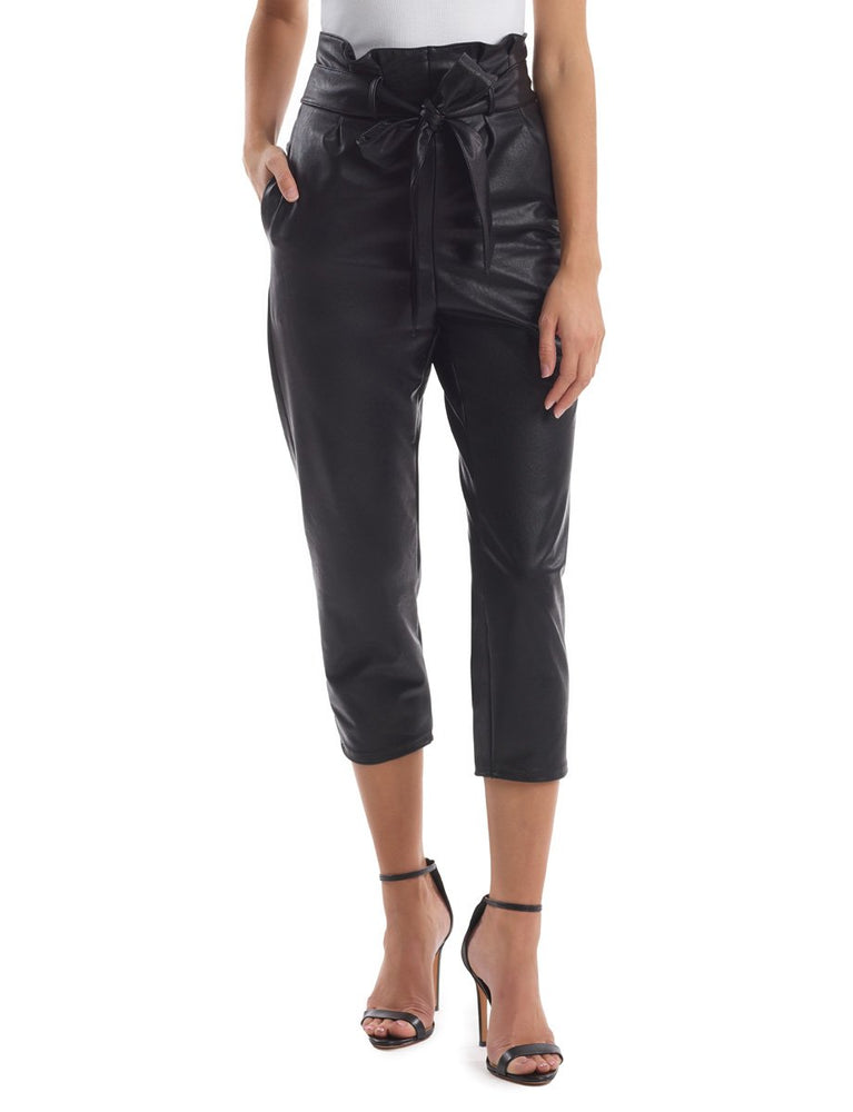 Load image into Gallery viewer, Commando Faux Leather Paper Bag Waist Pant Black