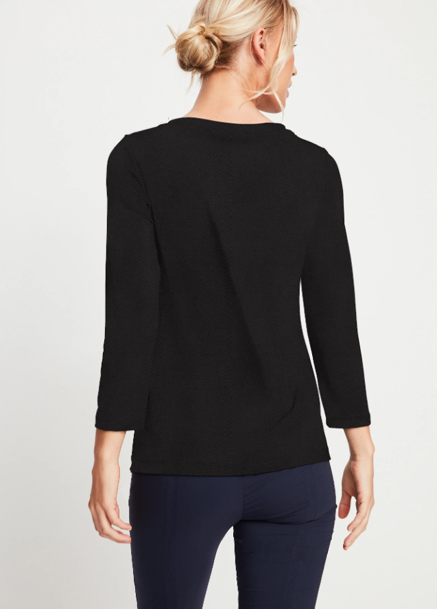 Load image into Gallery viewer, Anatomie Irma Vneck Top Jersey Black