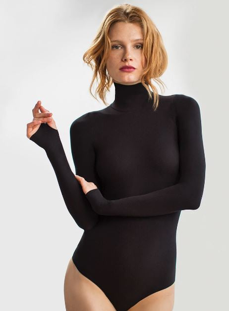 Load image into Gallery viewer, Commando Ballet Turtleneck Bodysuit Thong - Black