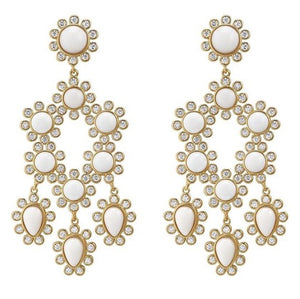 Load image into Gallery viewer, ASHA Paris Chandelier 14k Vermeil / White Agate Earring