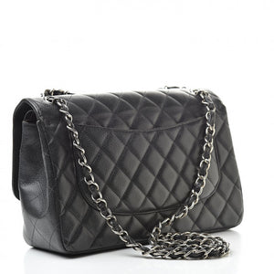 Chanel  Jumbo Double Flap Quilted Black Caviar Silver Hardware