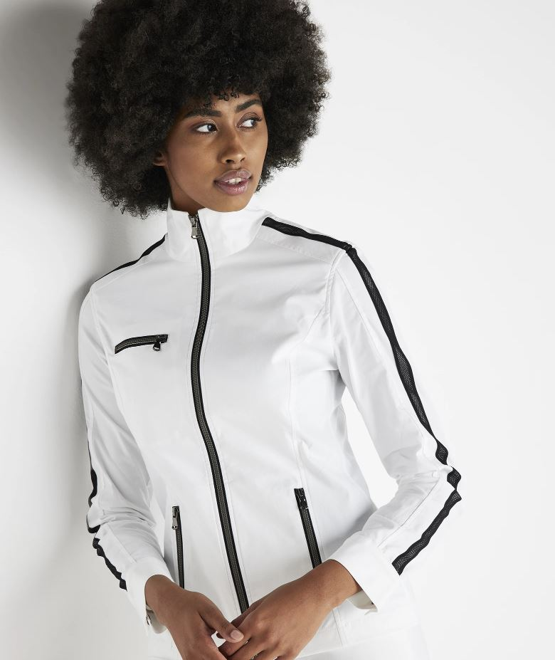 Load image into Gallery viewer, Anatomie Justine Honiara Jacket with Contrast Mesh Stripe