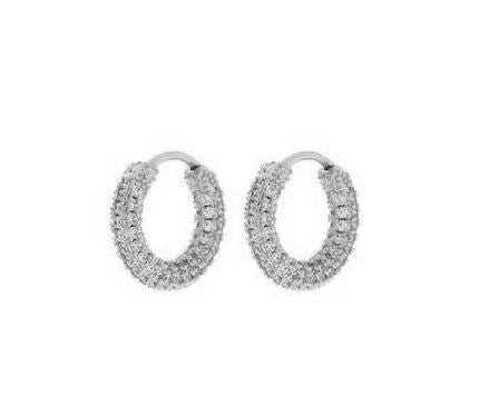 Load image into Gallery viewer, Luv Aj Pave Amalfi Huggies, Silver