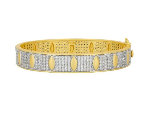 Freida Rothman Petals And Pave Wide Hinge Bangle AHPYZB01-H