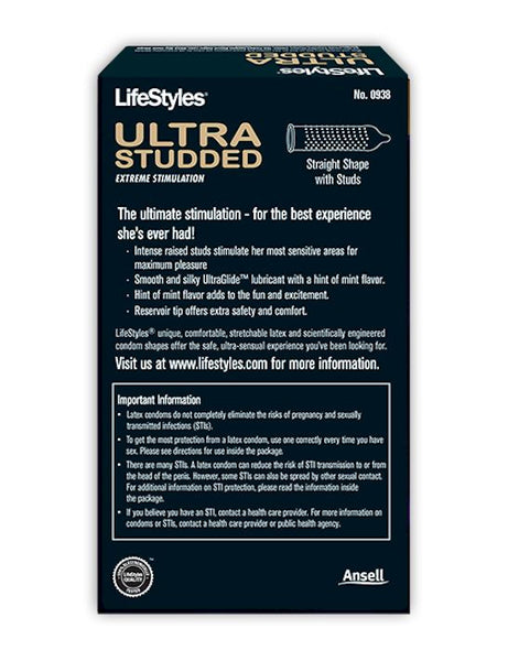 Lifestyles Ultra Studded condoms box - back