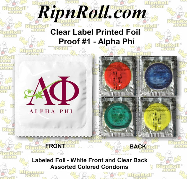 Alpha Phi Clear Labeled Condoms