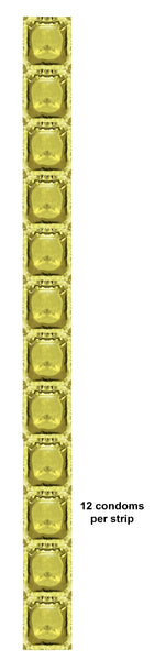 Gold Foil Blank Condoms in Strips of 12