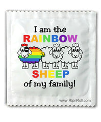 Gay Pride Condoms - I am the Rainbow sheep of the family.