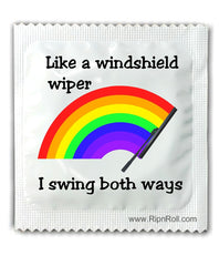Gay Pride Condoms - I swing both ways