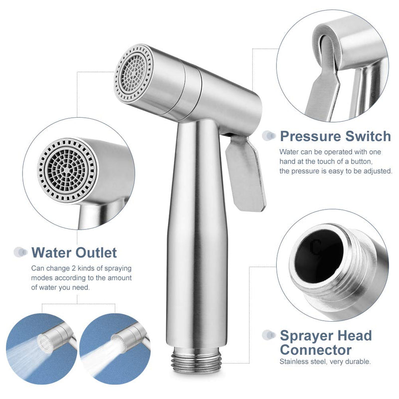 AquaSpray® Stainless Steel Toilet Sprayer Self Cleaning 59'' Hose & Easy to Install