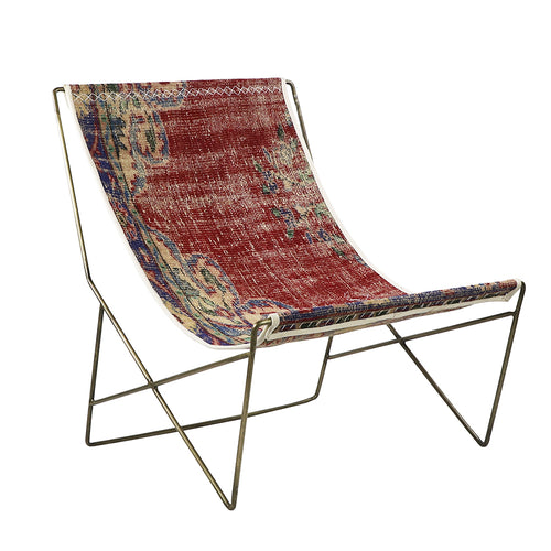 Turkish Vintage Rug Sling Chair, Brass GA125-indBE048