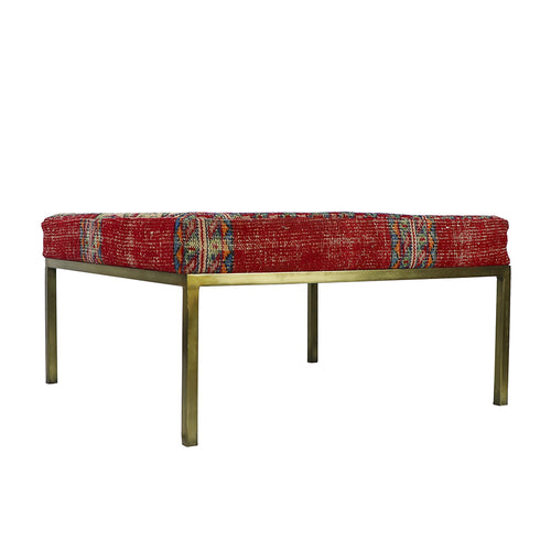 Turkish Vintage Rug Bench, Square, Brass GA134-indBE052