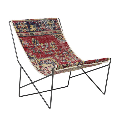 Turkish Vintage Rug Sling Chair, Gun Metal GA136-indBE042