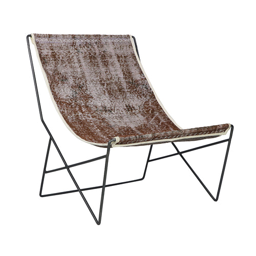 Turkish Vintage Rug Sling Chair, Gun Metal GA137-indBE042