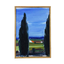"Load image into Gallery viewer, ""Cypress in Backlight"" Oil on Canvas by John Ivar (1916-2003), Signed, G043"