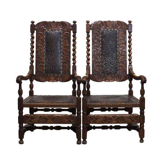 Embossed French Leather Chairs, S/2, G063