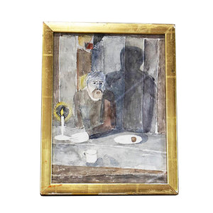 """Man Figure at Table"" Framed Watercolor by Birger Ljungquist (1894-1965), Signed, G065"