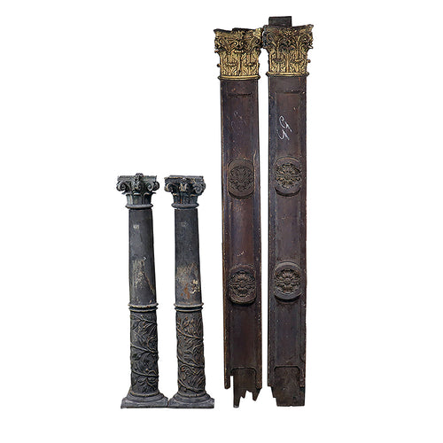 1700's Carved Pillar Decorations, Pair, G119