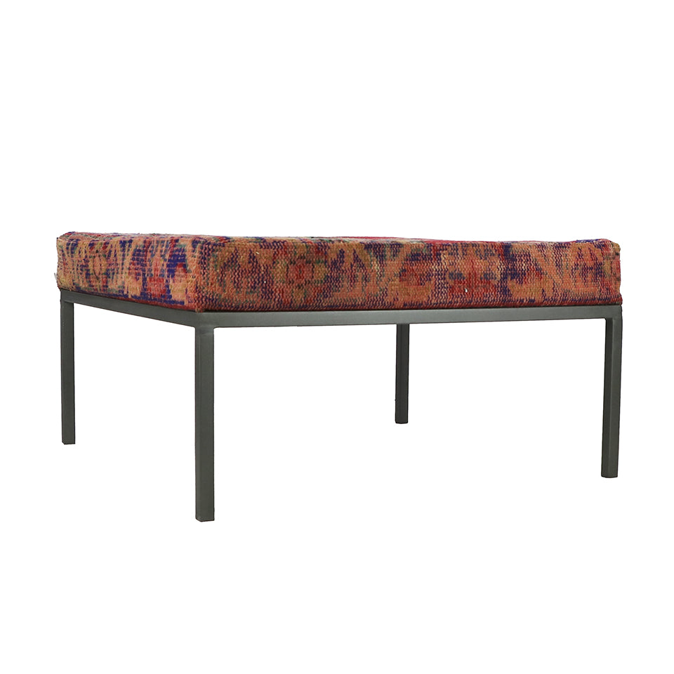Turkish Vintage Rug Bench, Square, Gun Metal GA153-indBE046