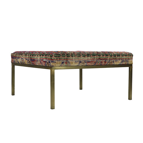 Turkish Vintage Rug Bench, Square, Brass GA154-indBE052
