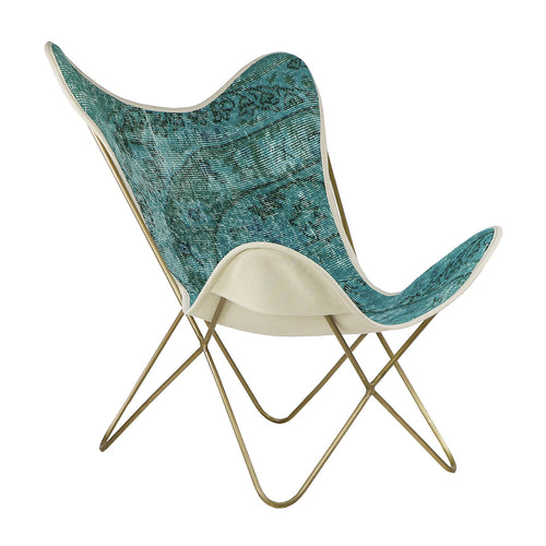 Turkish Vintage Rug Butterfly Chair, Brass GA160-indBE049