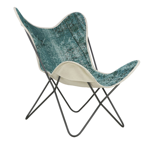 Turkish Vintage Rug Butterfly Chair, Gun Metal GA165-indBE043