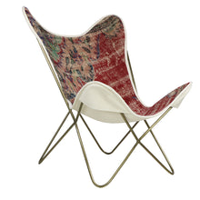 Load image into Gallery viewer, Turkish Vintage Rug Butterfly Chair, Brass GA171-indBE049