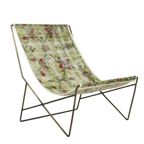 Turkish Vintage Rug Sling Chair, Brass GA172-indBE048