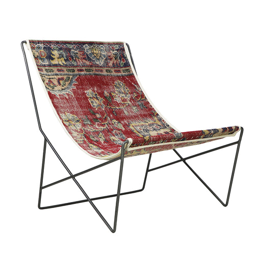 Turkish Vintage Rug Sling Chair, Gun Metal GA173-indBE042