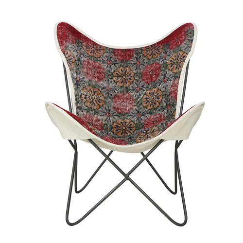 Turkish Vintage Rug Butterfly Chair, Gun Metal GA176-indBE043