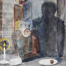 "Load image into Gallery viewer, ""Man Figure at Table"" Framed Watercolor by Birger Ljungquist (1894-1965), Signed, G065"