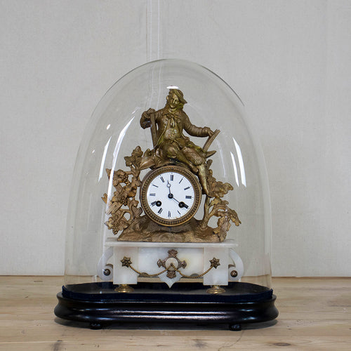 Domed Brass Figural Clock on Marble Base, G012