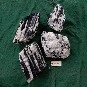 Tourmaline on Quartz Matrix, 4 pcs, G256